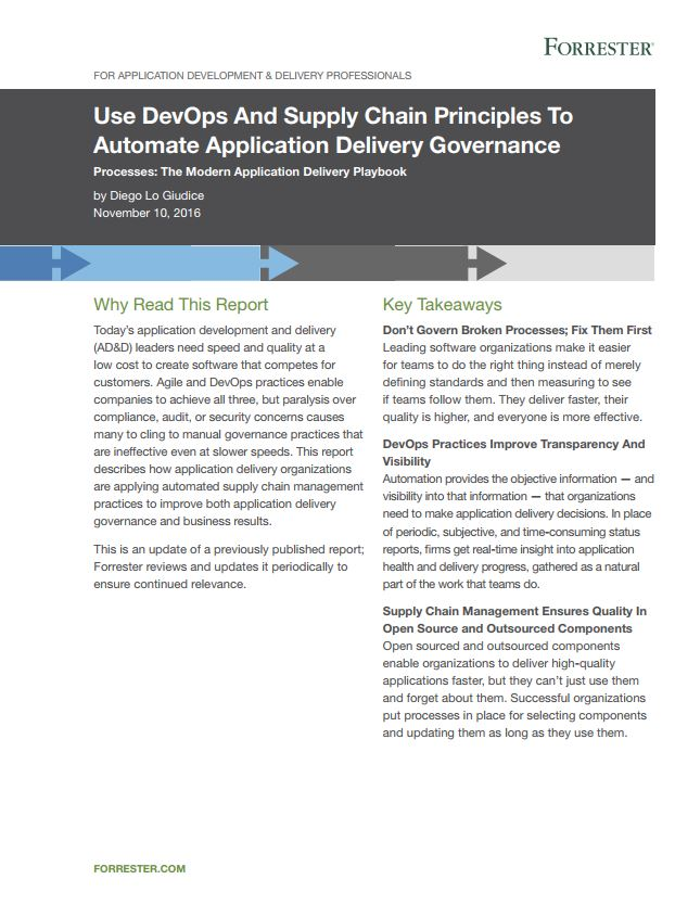 Forrester Research: Use DevOps and Supply Chain Principles to